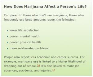 marijuana affects
